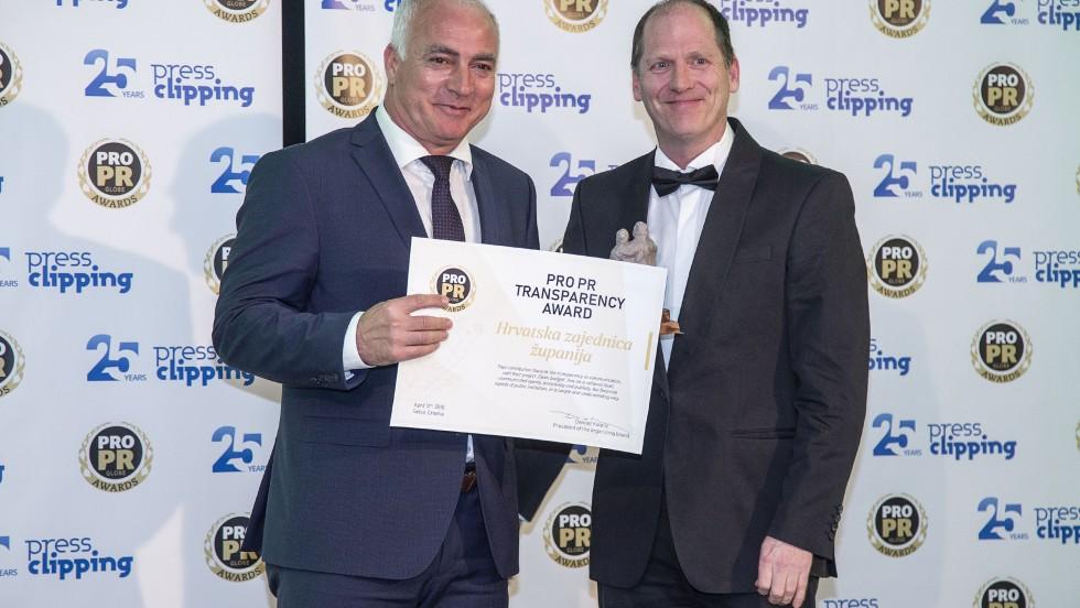 Dodijeljene ProPR Globe Awards: Hrvatskoj zajednici županija nagrada za transparentnost u komunikaciji